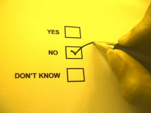 Three checkboxes - Yes, No, Don't know - with a pencil applying a check to the No box