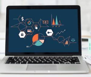 Laptop screen showing graphs