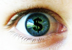 Dollar sign in center of eye