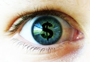 Image of eye with a dollar sign