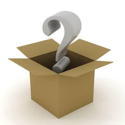 Question mark above an open box