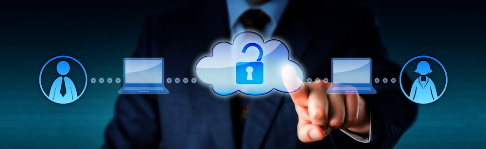 Image of a business person touching a cloud icon to unlock connections to two other people