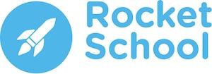 Logo of the Rocket School with icon of rocketship