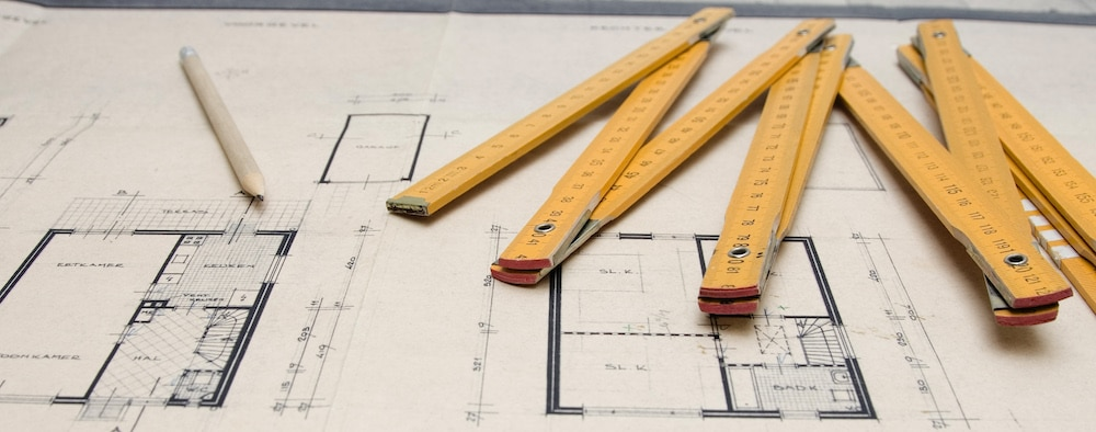 Architectural drawing with measuring stick